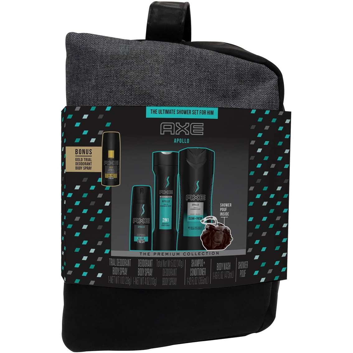 Axe Apollo Gift Set For Men With Shower Bag 4 Pc  | Body