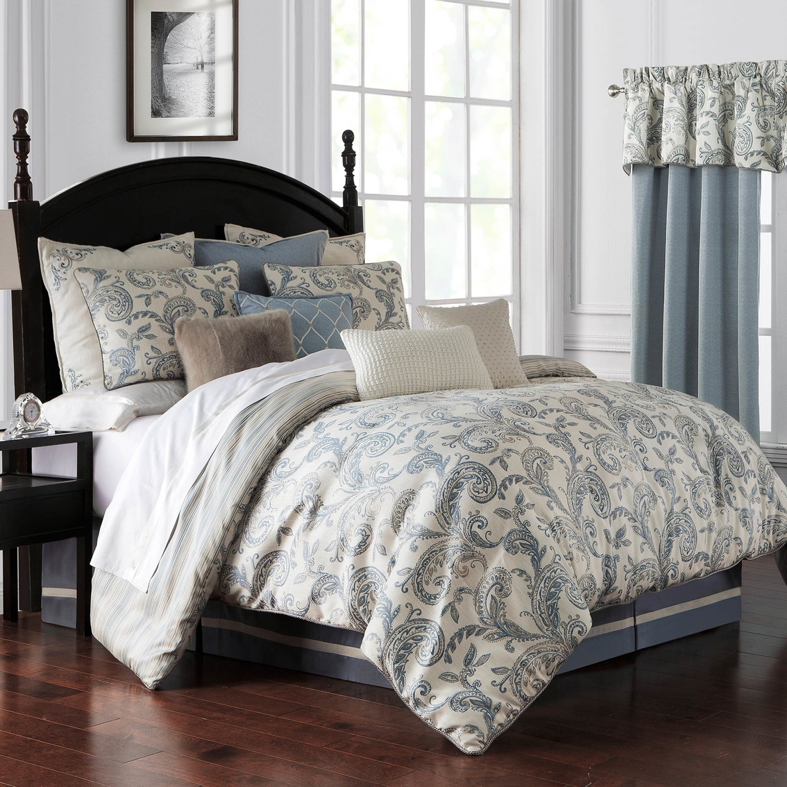 Waterford Florence Chambray Blue Comforter Set Bedding