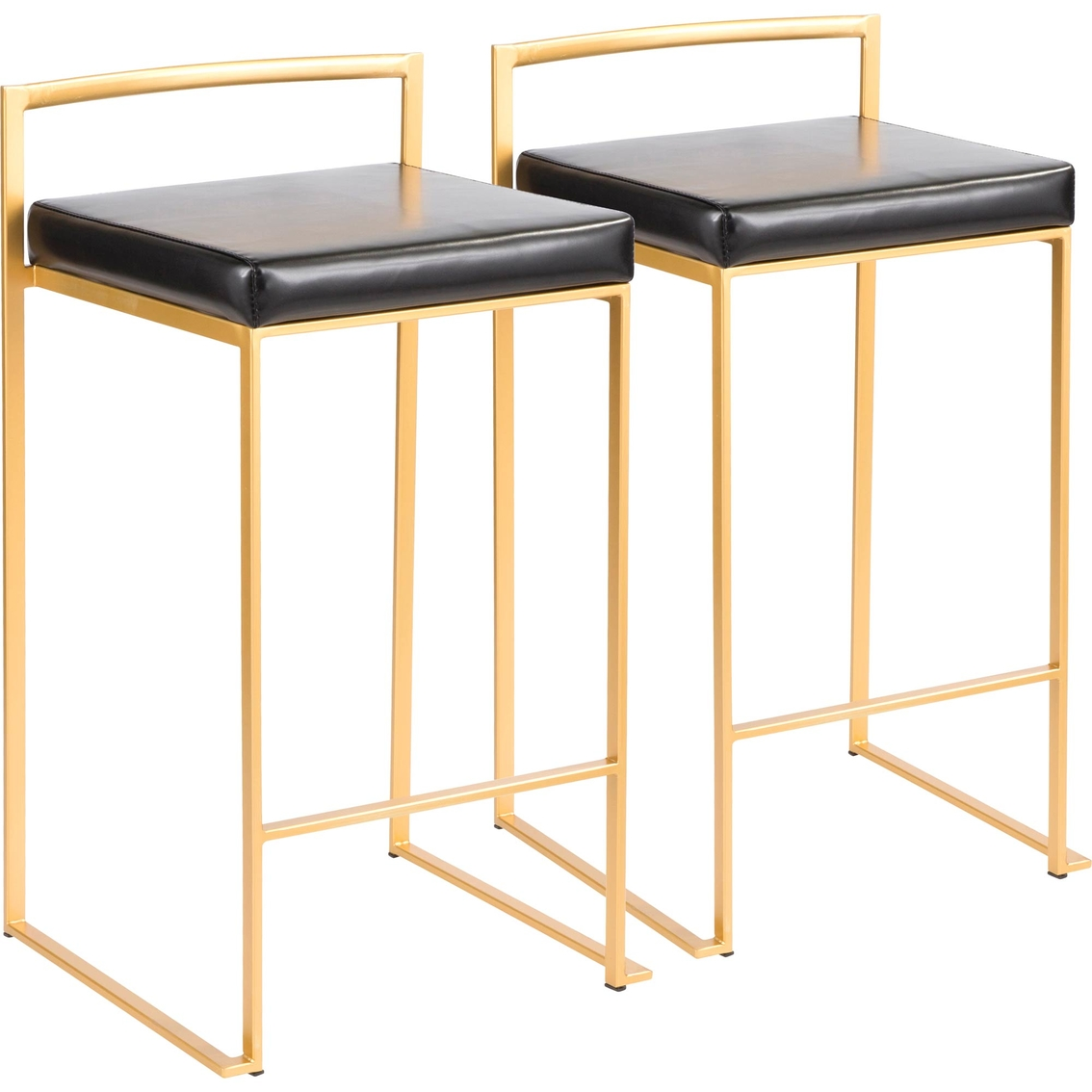 Lumisource Fuji Goldtone Frame Faux Leather Stacker Counter Stool 2 Pk