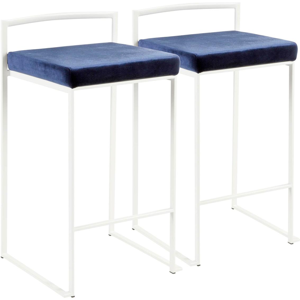 Lumisource Fuji White Frame Velvet Cushion Stacker Counter Stool 2 Pk