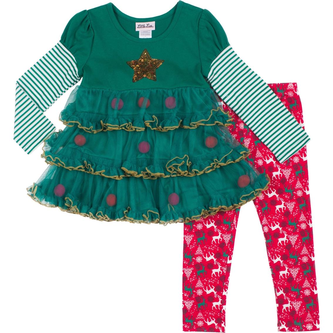 754a90f0417ae Little Lass Little Girls 2 Pc. Christmas Leggings Set | Girls 4-6x ...