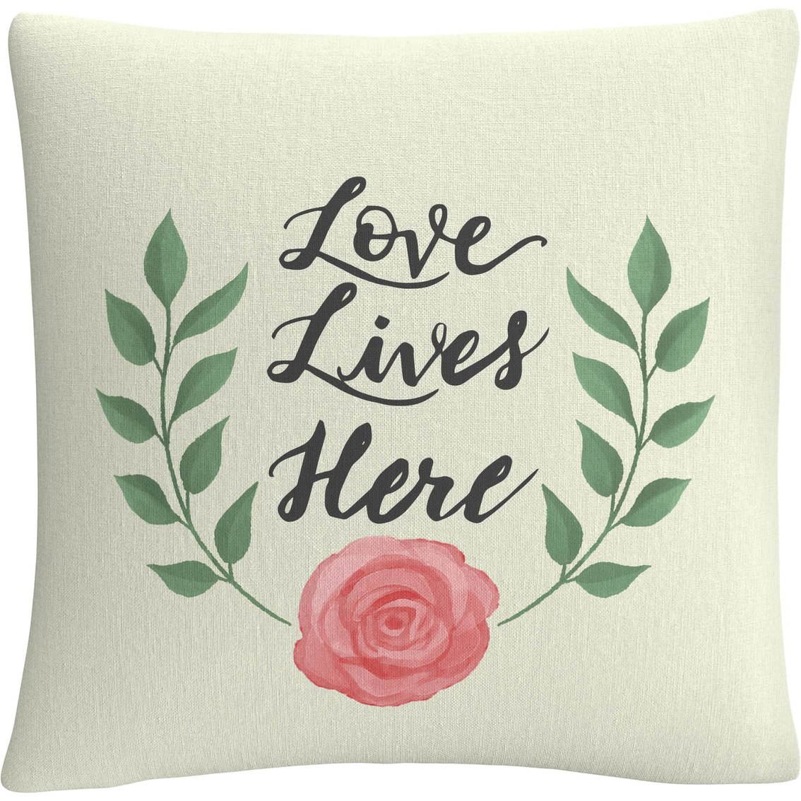 Trademark Fine Art Love Lives Here Decorative Throw Pillow