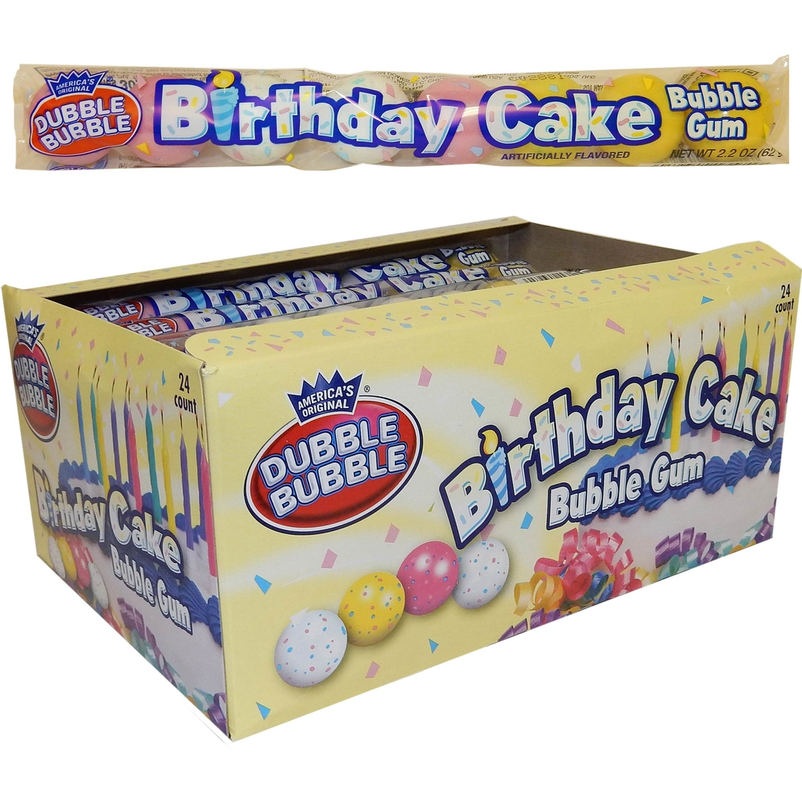 Dubble Bubble Birthday Cake Bubble Gum 24 Pk.