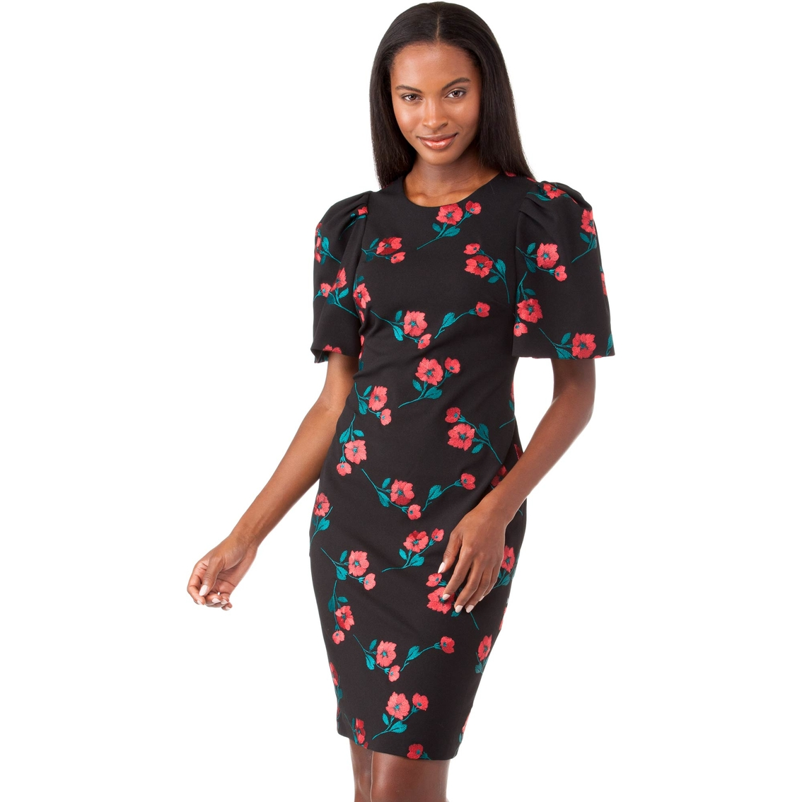 8e05d9504840 Calvin Klein Floral Embroidered Sheath Dress With Puff Sleeves ...