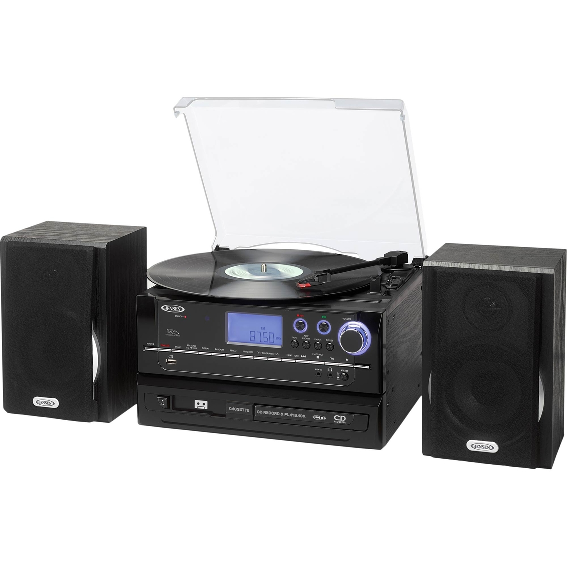 Jensen 3 Speed Stereo Turntable CD Recording System With Cassette And AM/FM