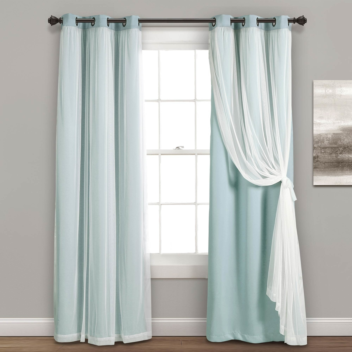 Lush Decor Grommet Sheer Panels With Insulated Blackout