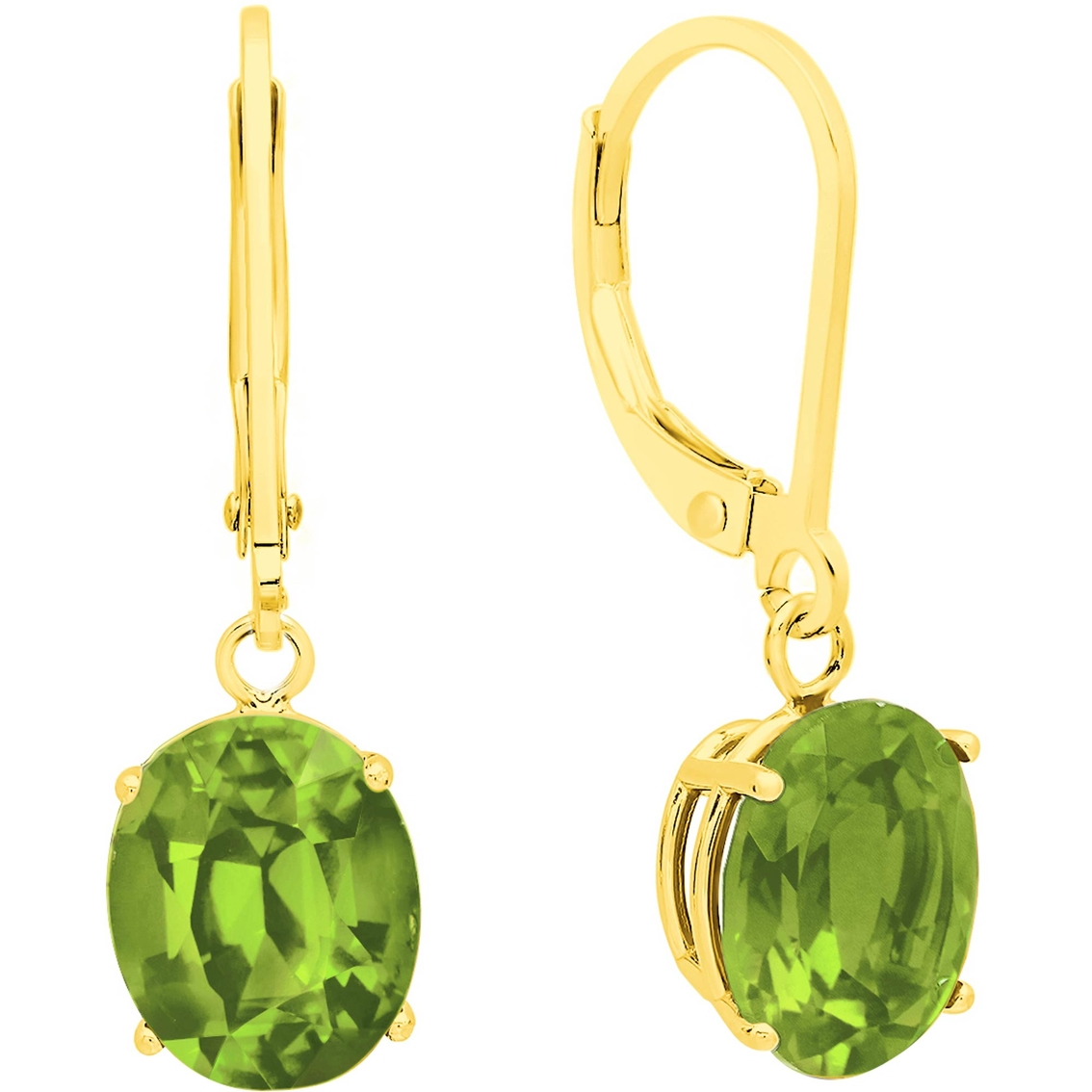 14k Yellow Gold Oval Peridot Dangle