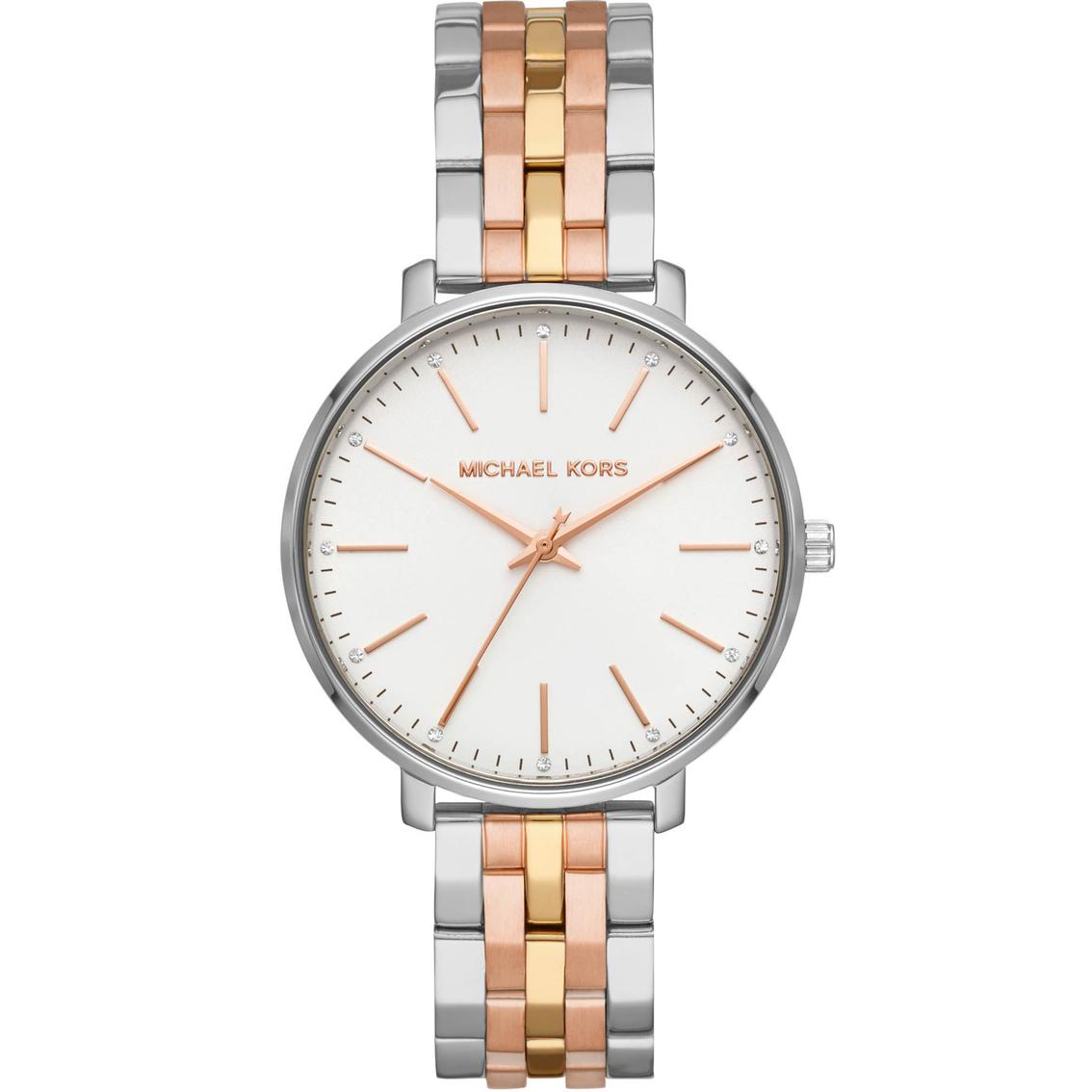 b4d073106a4c Michael Kors Women s Pyper 3 Hand Tri Tone Stainless Steel Watch MK3901