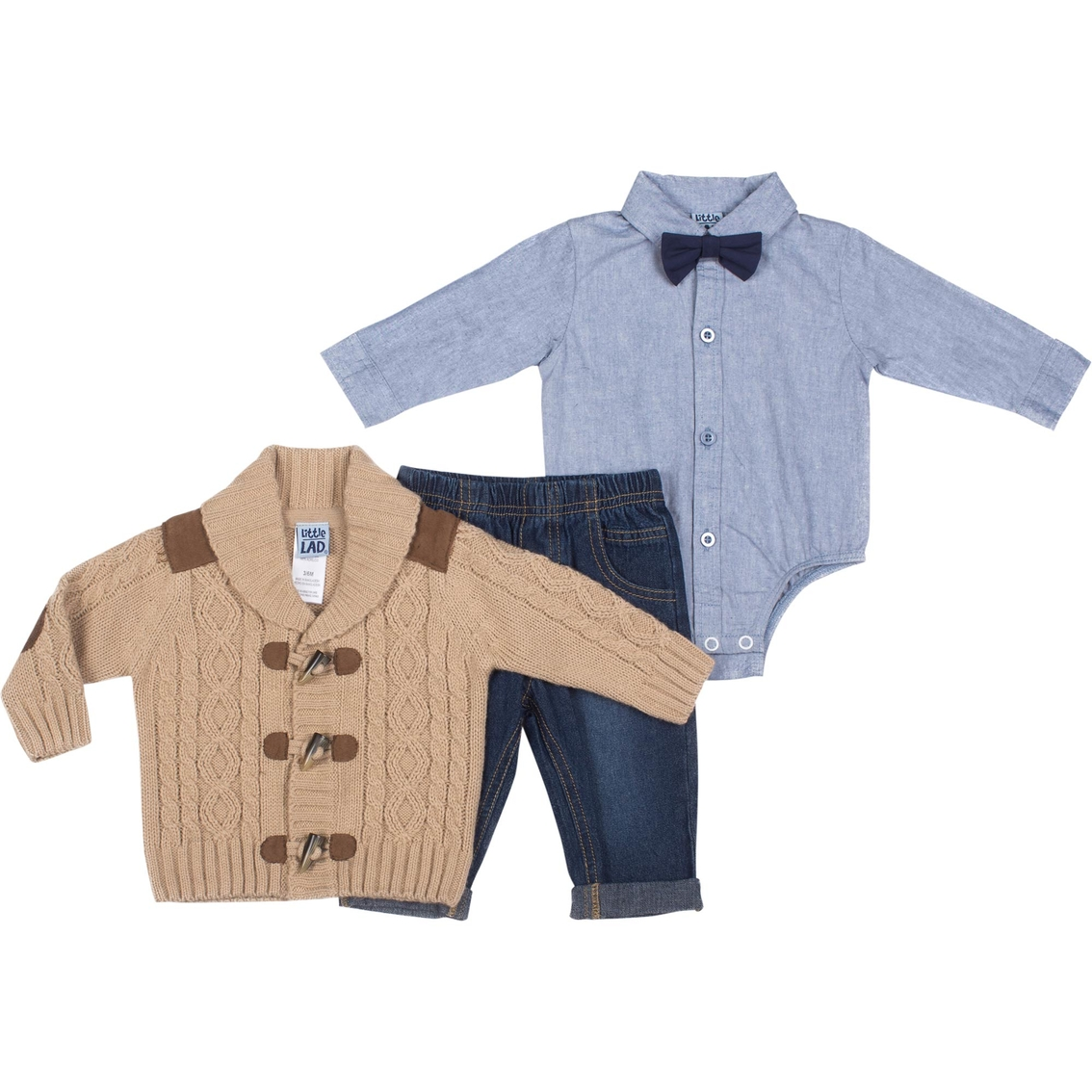 1cd50cf83 Little Lad Infant Boys 3 Pc. Cable Knit Sweater Cardigan Set | Baby ...