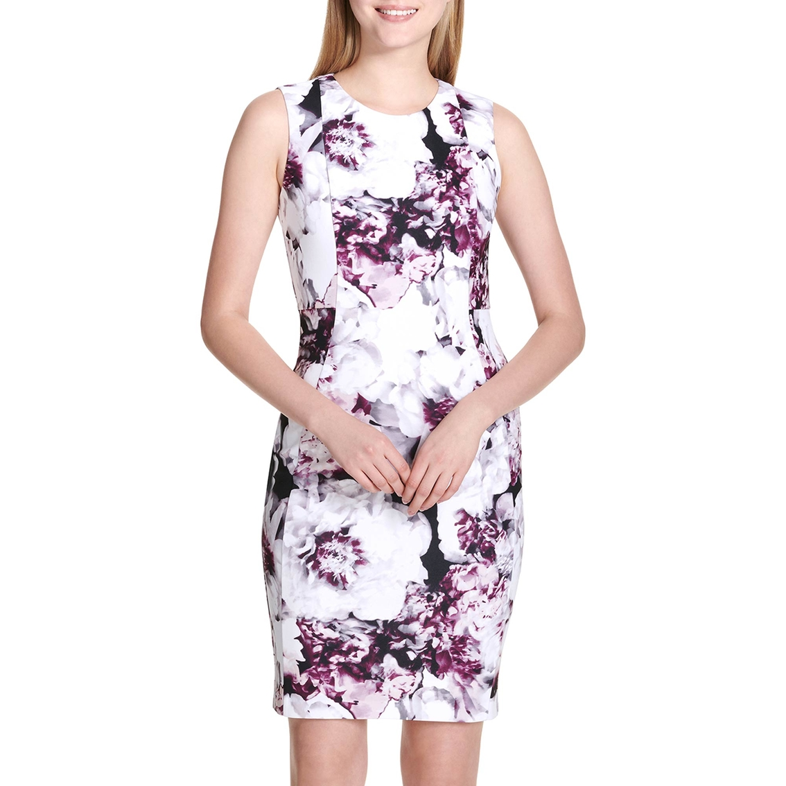 91912efe6bcd5 Calvin Klein Collection Printed Sheath Dress With Seams