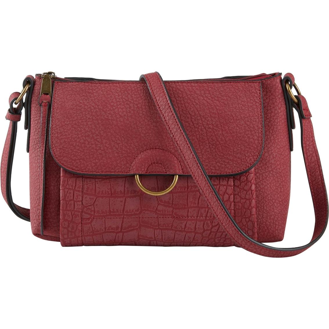 Bueno Of California Vintage Grain Croco Flap Crossbody Handbag ... 14856445c5