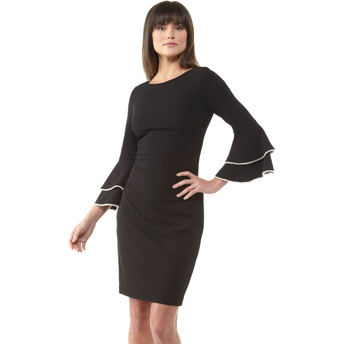 8427eef80d062 Calvin Klein Tiered Bell Sleeve Sheath With Pearl Trim