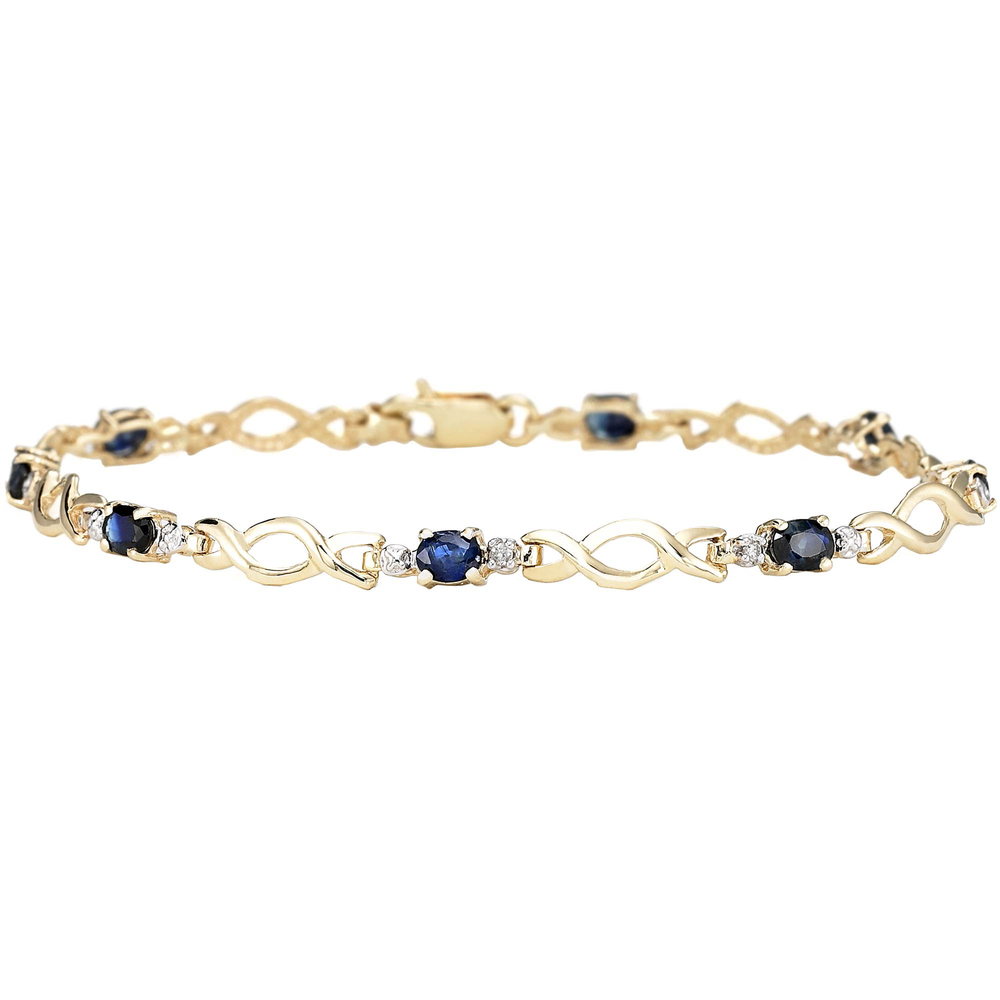 10k Yellow Gold Sapphire Bracelet With Diamond Accents | Gemstone