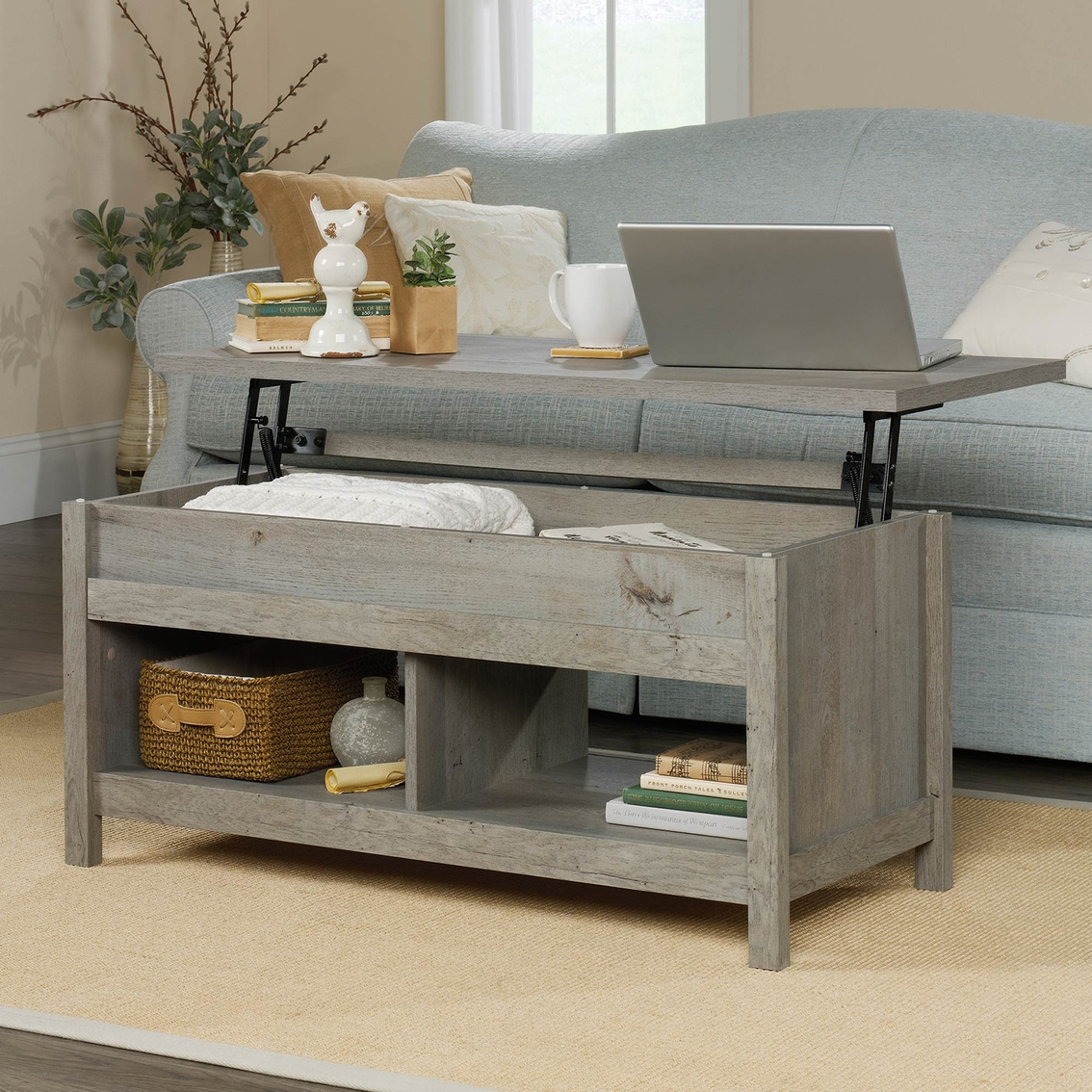 Sauder Cannery Bridge Lift Top Coffee Table