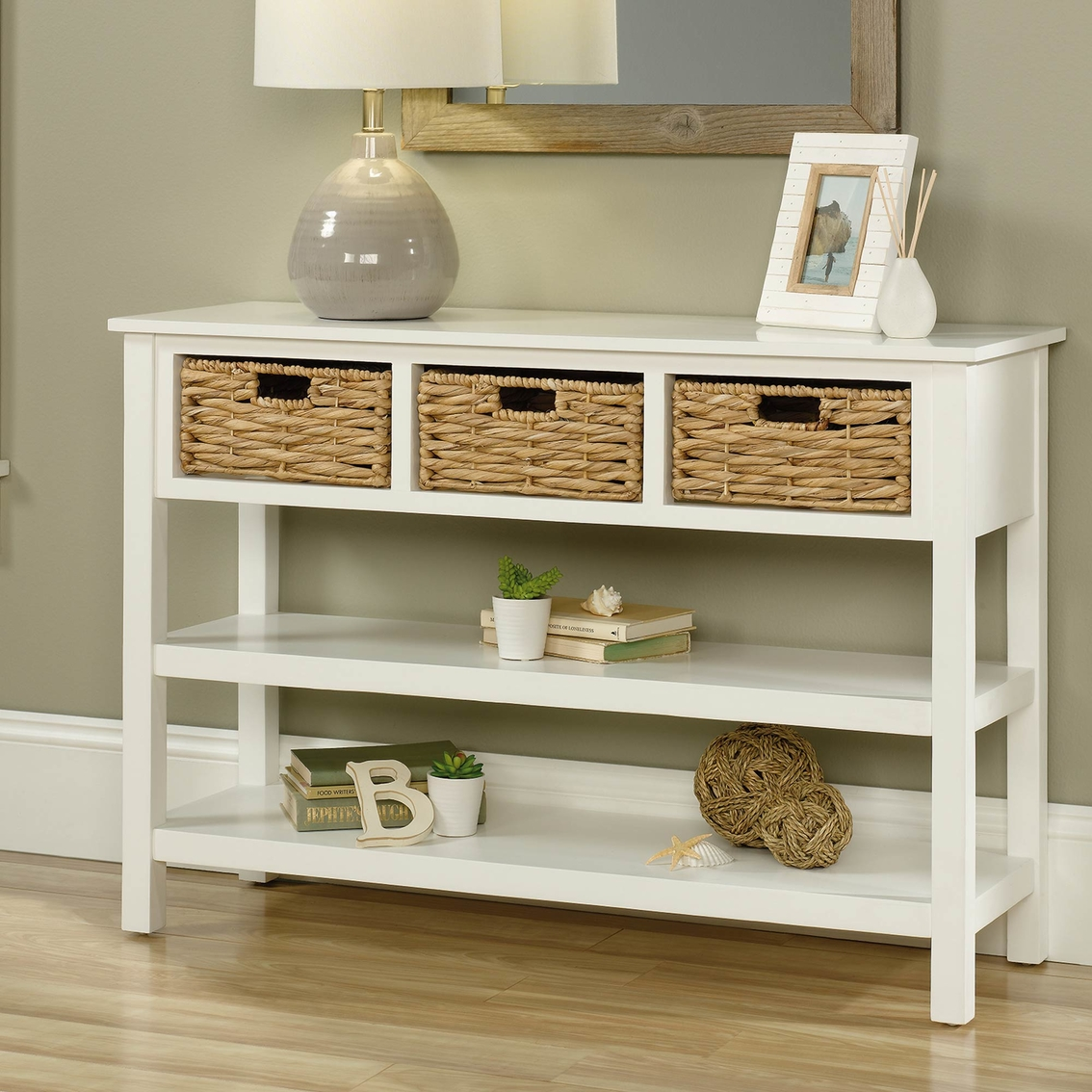 Surprising Sauder Cottage Road Console With Baskets Entry Furniture Ncnpc Chair Design For Home Ncnpcorg