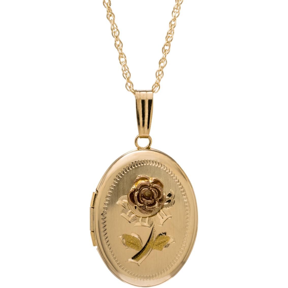 14k Tri-color Gold Rose Locket | Gold Necklaces & Pendants ...