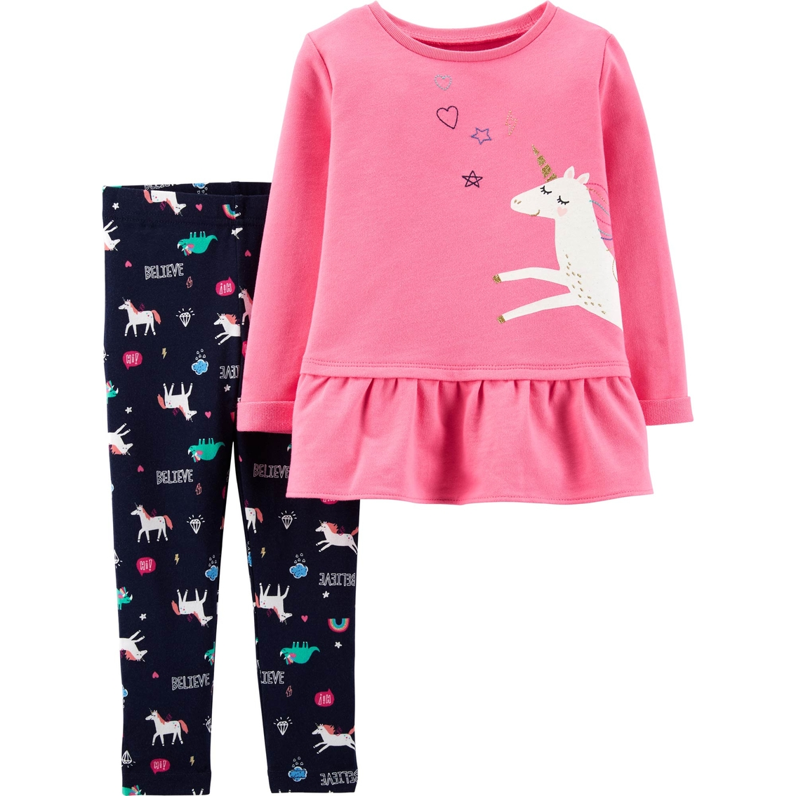 04d24923bae88 Carter's Toddler Girls Unicorn French Terry Top And Leggings 2 Pc ...