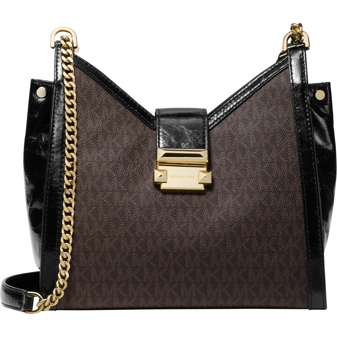 3d4135156927 Michael Kors Whitney Small Chain Shoulder Tote Signature Brown Black ...