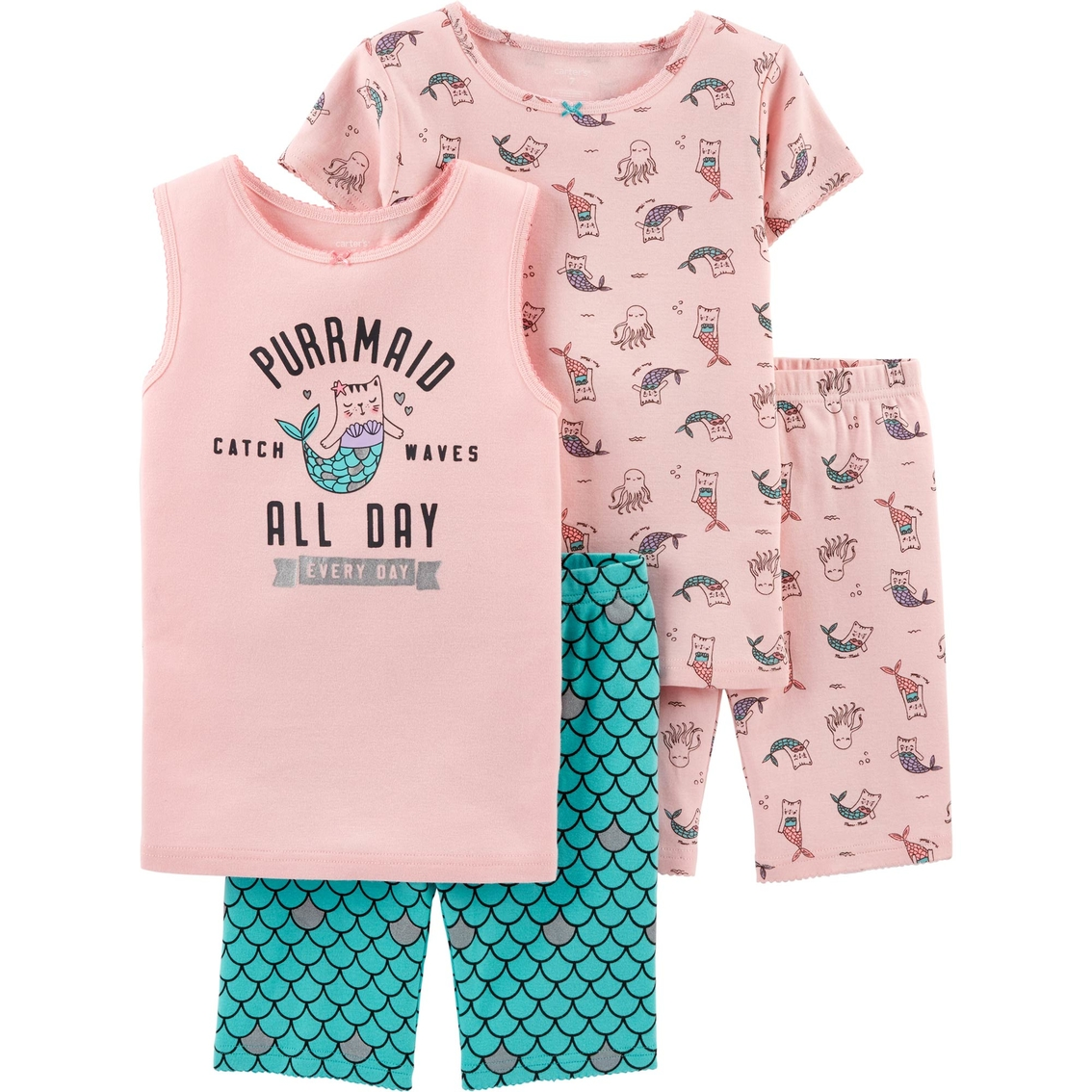 Mermaid Snug Fit Cotton Pajama Set Carters Girls 2T-16 4-Pc