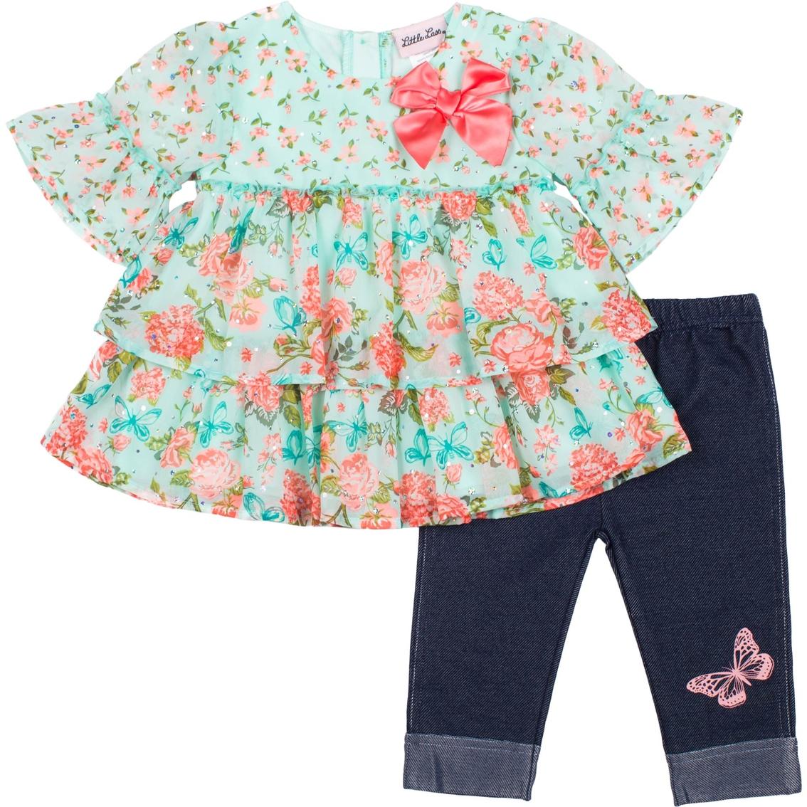 Little Lass Baby Girls 2 Pc Disco Dot Diaper Set