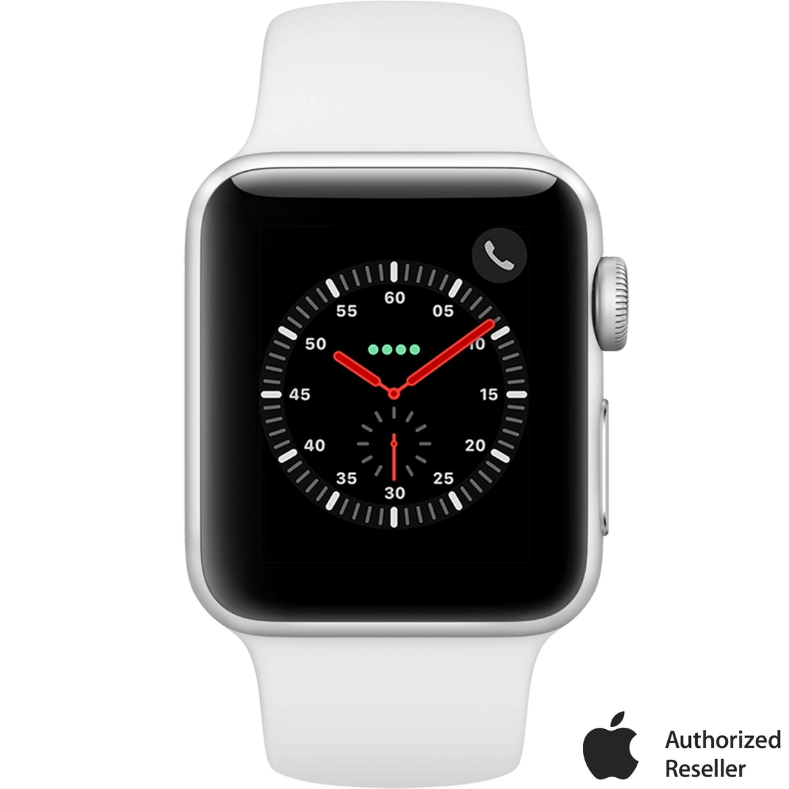 c5e19377fcf Apple Watch Series 3 GPS + Cellular Silver Aluminum Case with White Sport  Band