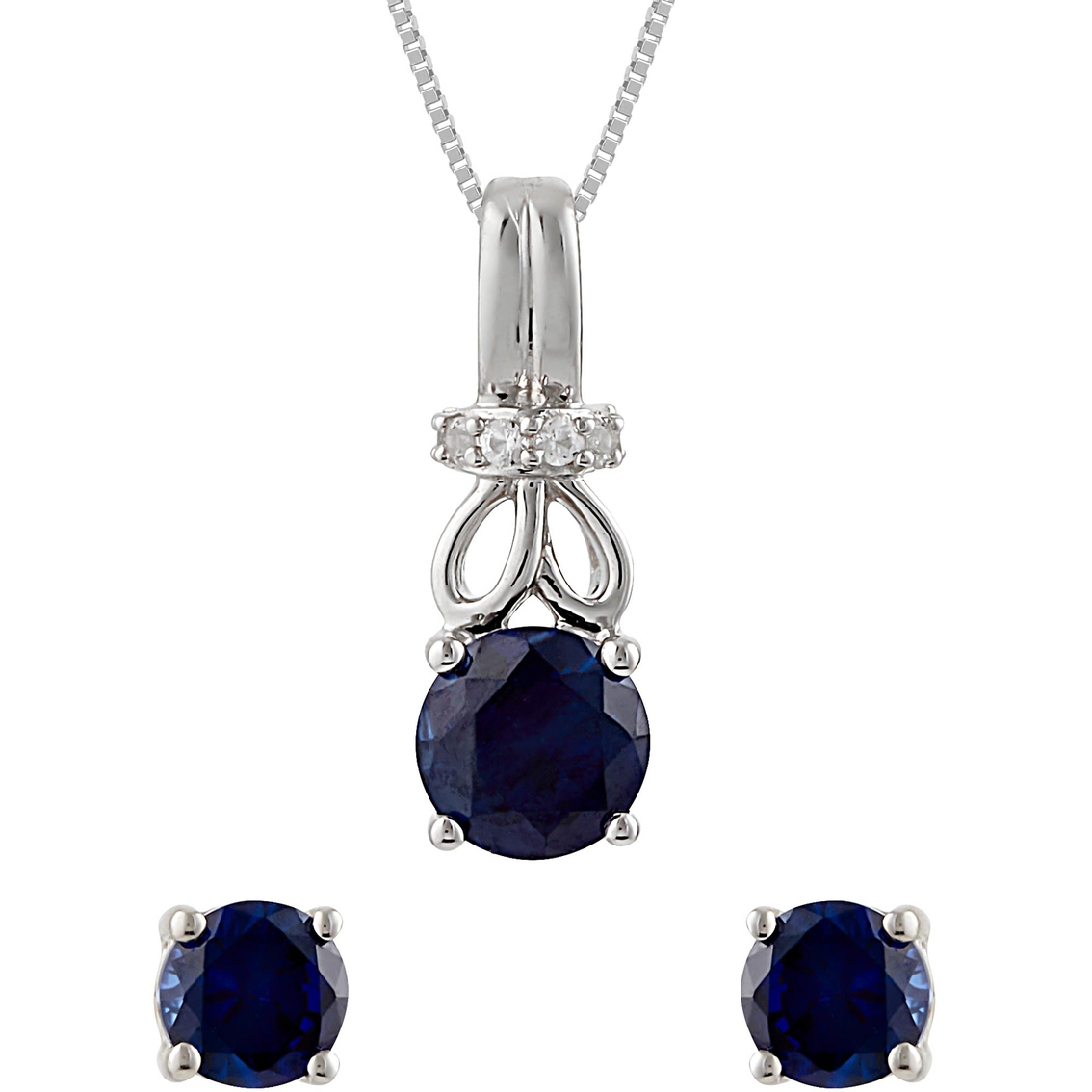 0e7442773 Sterling Silver Lab Created Blue And White Sapphire 2 Pc. Set ...