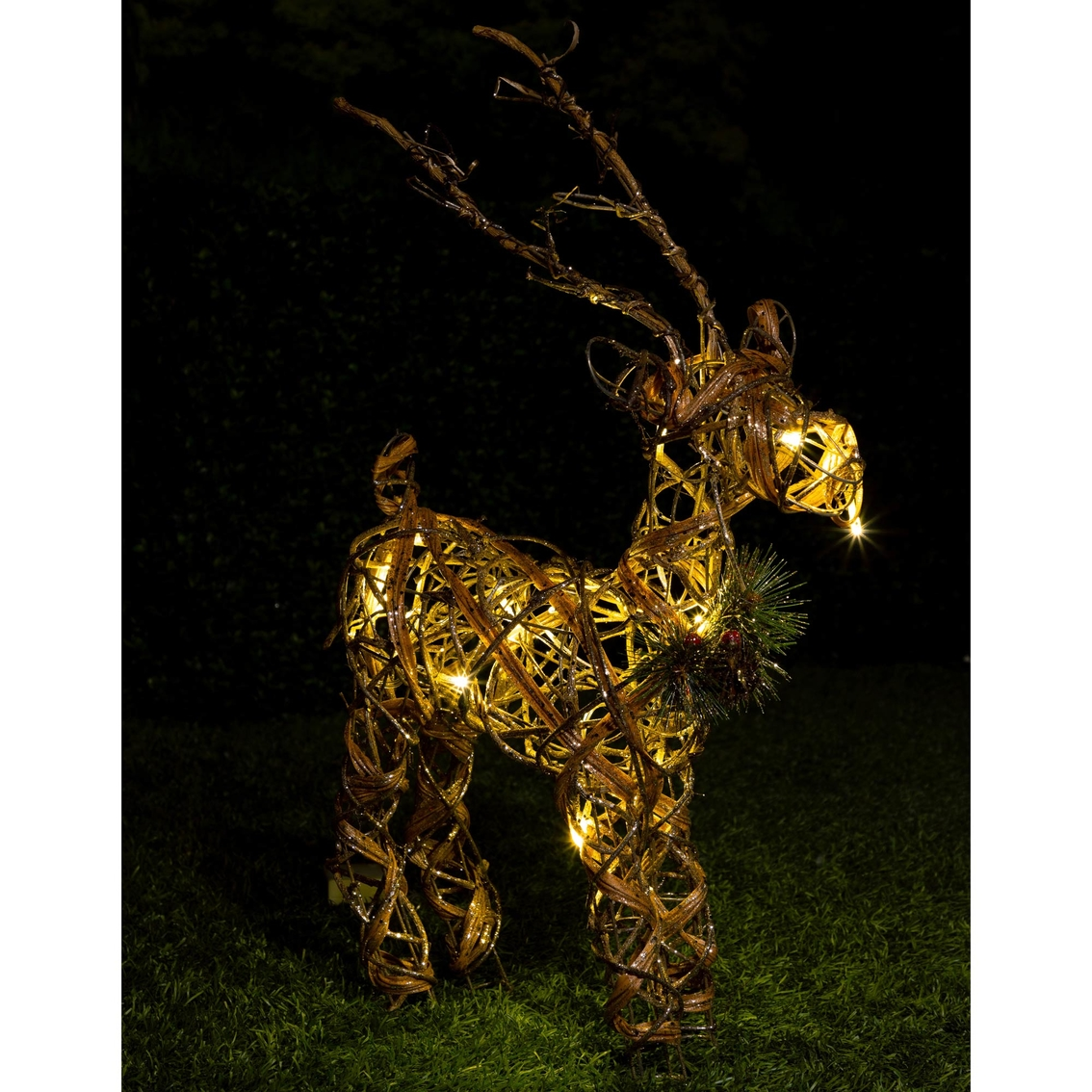 Alpine Rattan And Berry Reindeer Decoration | Indoor Decor ...