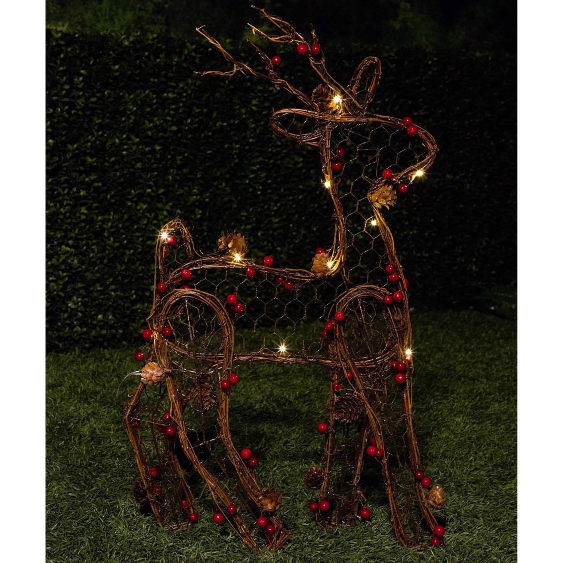 Alpine Rattan Christmas Reindeer Decoration with LED Lights