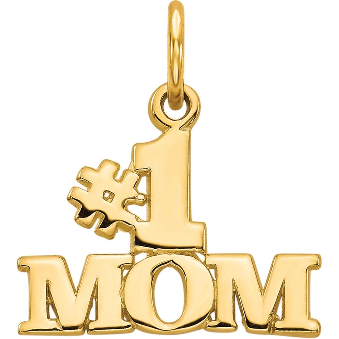 Jewels Obsession #1 Mom Charm Pendant 14K White Gold #1 Mom Pendant 19 mm