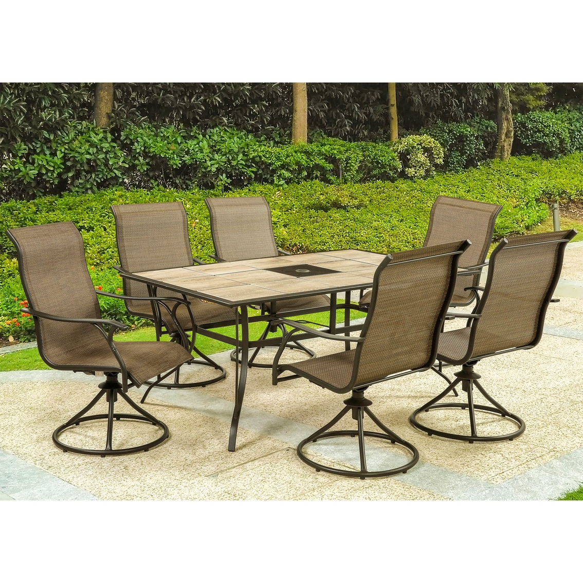 Courtyard Creations Riviera 7 Pc Sling Patio Dining Set