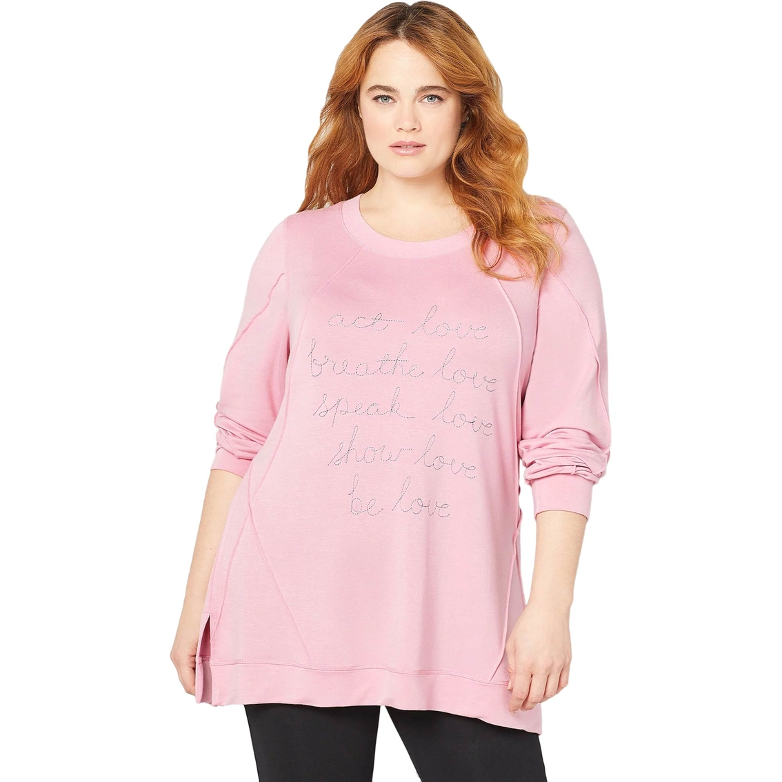 4da91c2445c Avenue Plus Size Lurex Love Seamed Sweatshirt