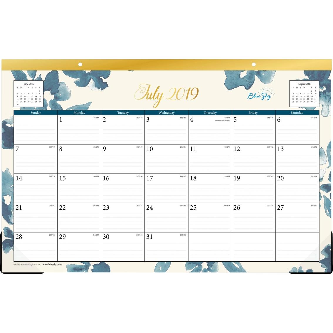 July Calendar 2020.Blue Sky July 2019 July 2020 Desk Pad Calendar Bakah Blue