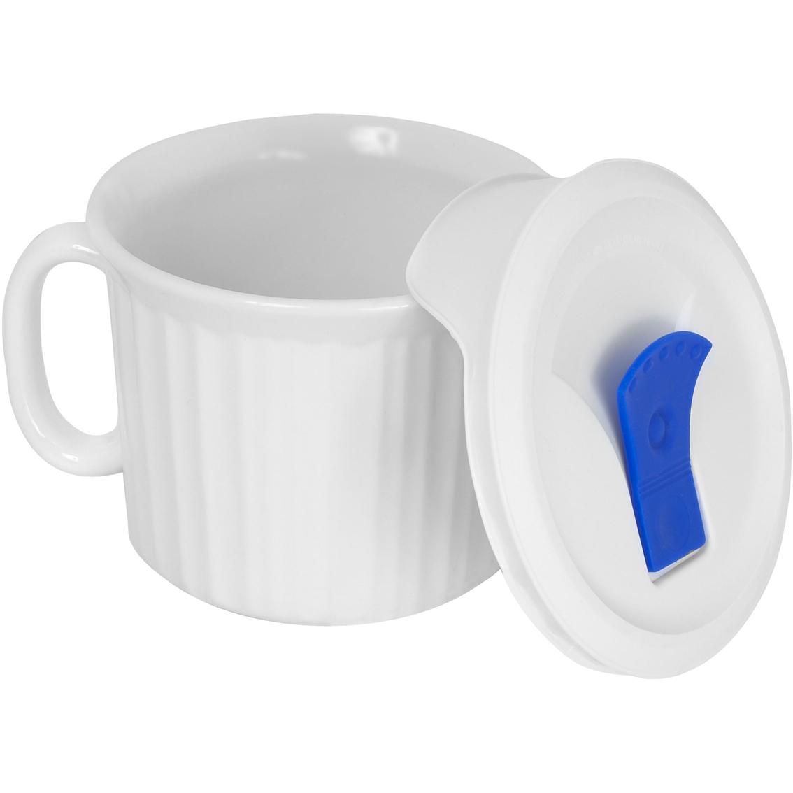 Corningware French White Pop Ins 20 Oz Mug With Blue Vented Plastic