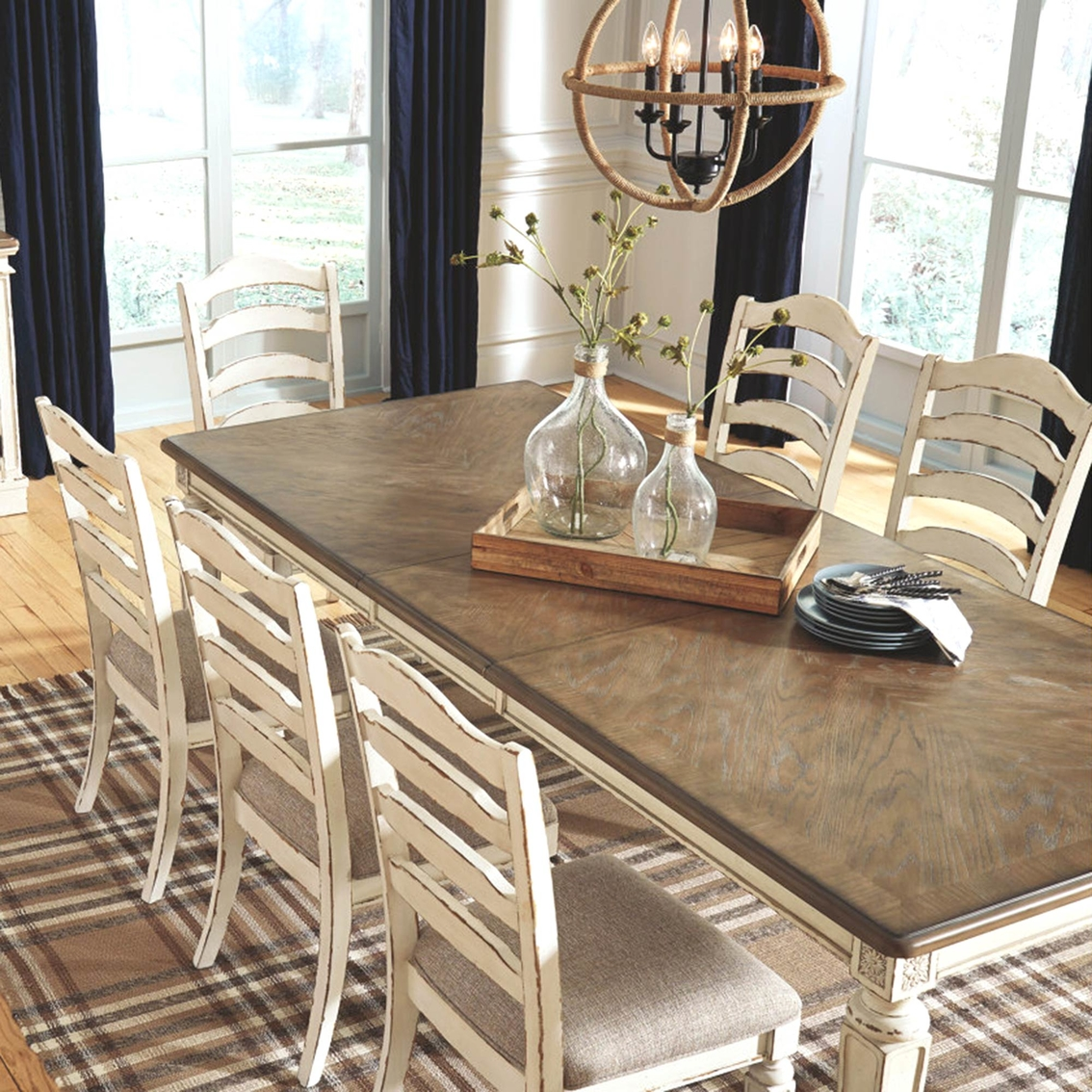 Signature Design By Ashley Realyn 9 Pc Rectangular Ladder Back Chair Dining Set Dining Sets Furniture Appliances Shop The Exchange