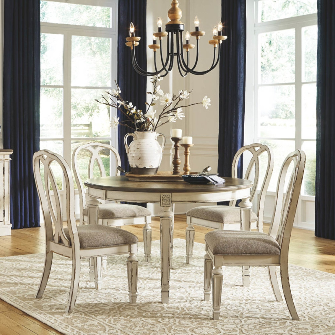 Signature Design By Ashley Realyn 5 Pc Oval Dining Set With Ribbon Back Chairs Dining Sets Furniture Appliances Shop The Exchange