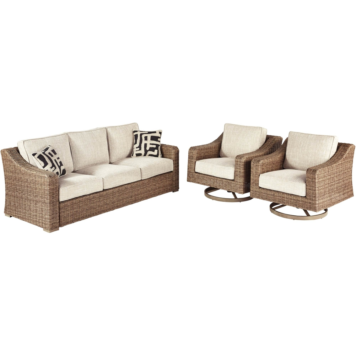 Picture of: Ashley Beachcroft Sofa And Two Swivel Lounge Chairs Set Patio Sets Patio Garden Garage Shop The Exchange