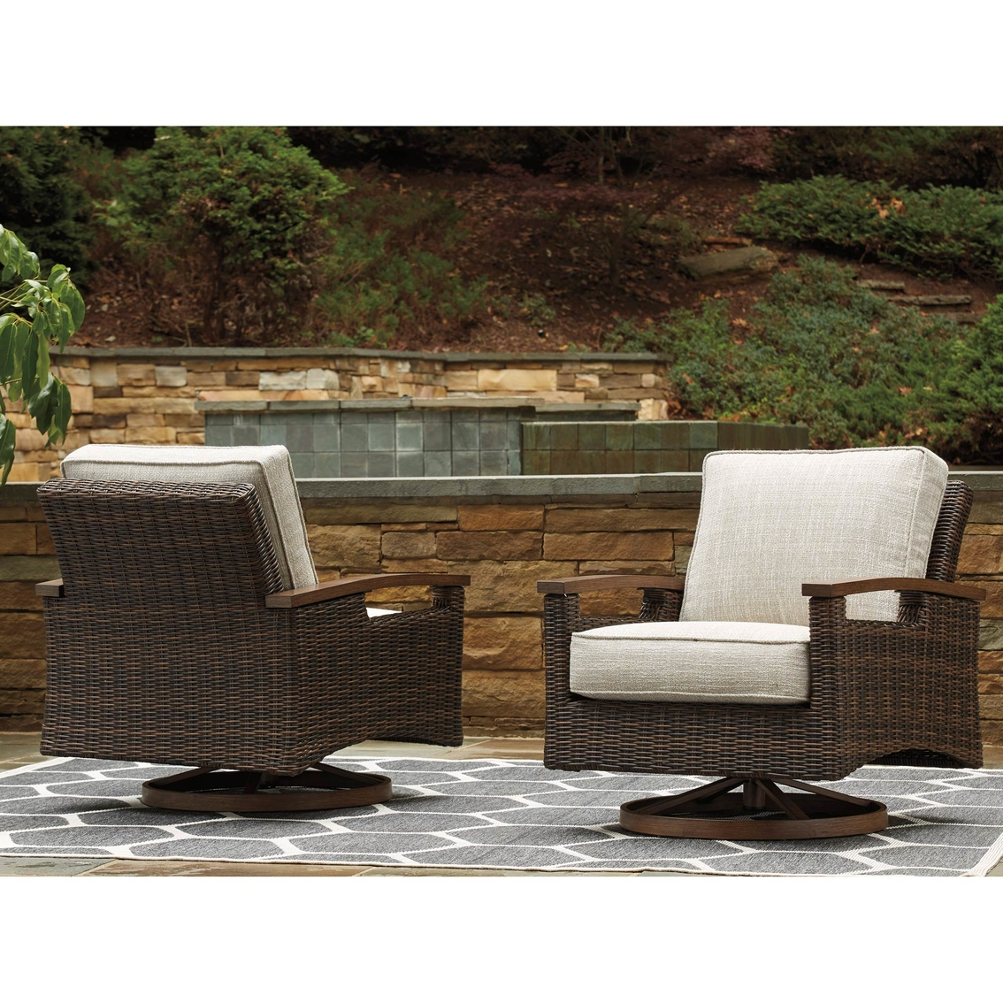 Remarkable Ashley Paradise Trail Swivel Lounge Chair Set Of 2 Patio Gmtry Best Dining Table And Chair Ideas Images Gmtryco