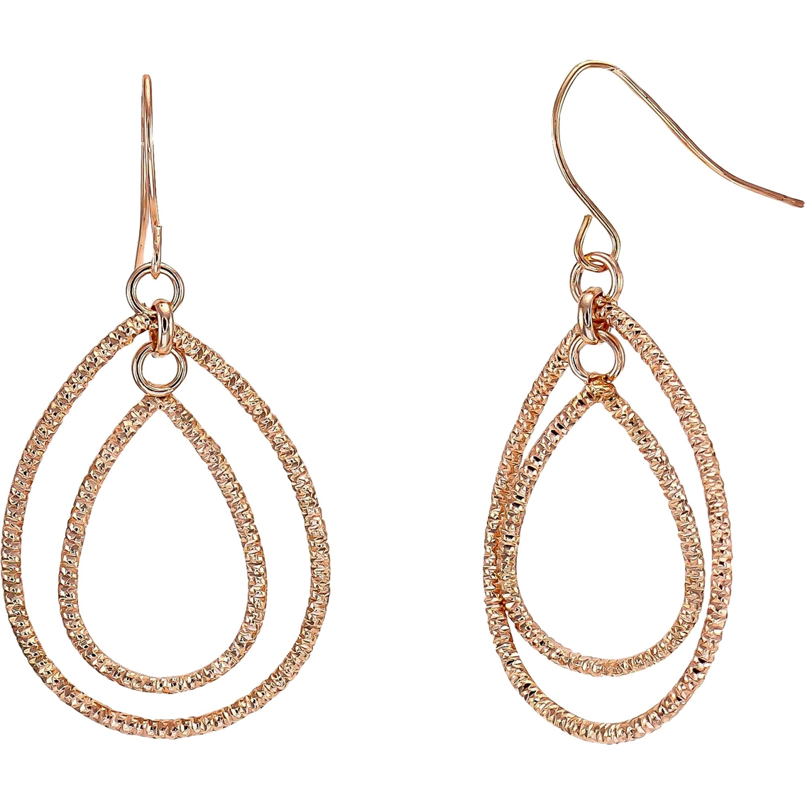 Pop Perfect Ring Diamontrigue Jewelry: Carol Dauplaise Rose Goldtone Double Metal Ring Earring