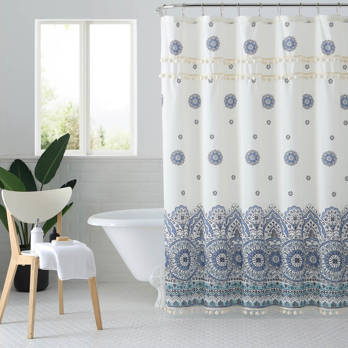 1888 Mills Peach And Oak Miranda Blue Shower Curtain Shower Curtains Hooks Household Shop The Exchange