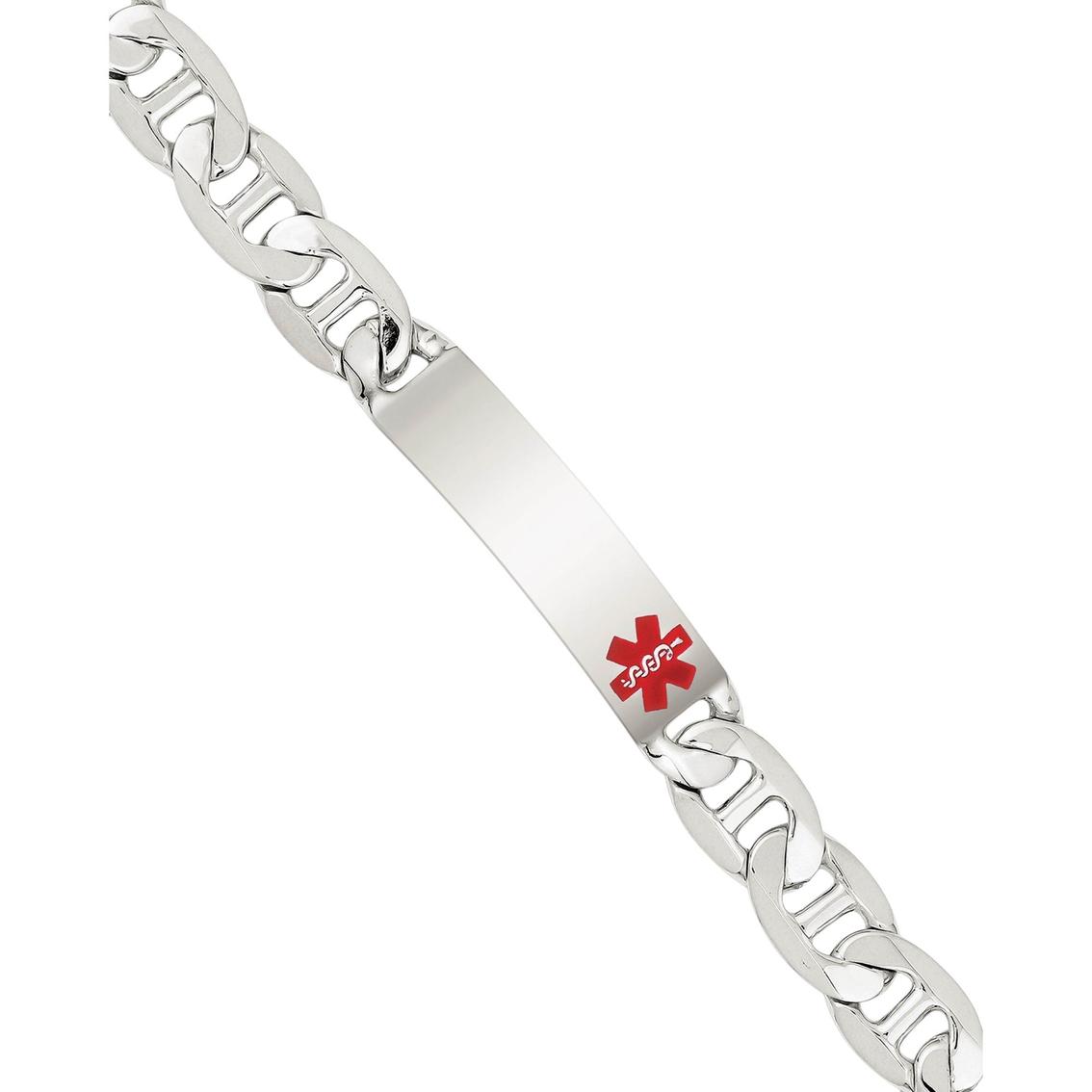 Sterling SIlver 8.5inch Polished Engravable Anchor Mens Link ID Bracelet