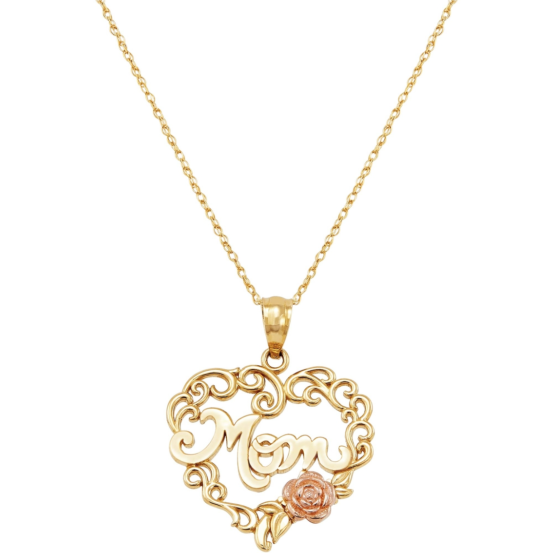10k Yellow And Rose Gold Mom In Heart With Pink Flower Pendant Gold Necklaces Pendants Valentine S Gift Guide Shop The Exchange