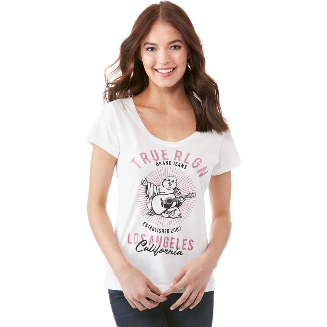 afaf5c70 True Religion Crystal La Buddha Round V Neck Tee   T-shirts ...