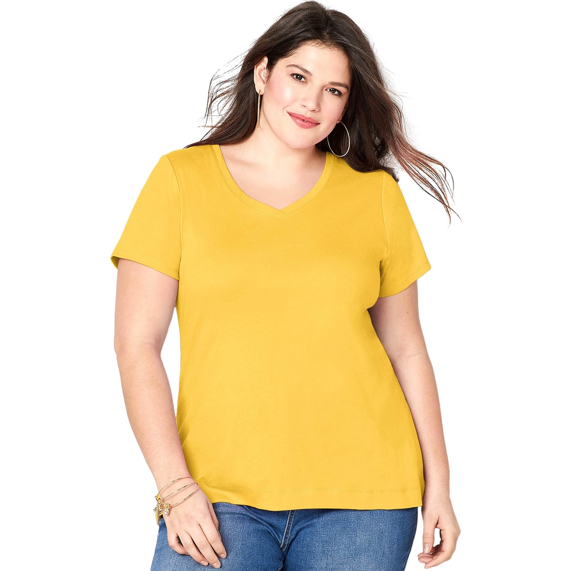 f1f7c18b Avenue Plus Size Solid V-neck Tee   T-shirts   Apparel   Shop The ...