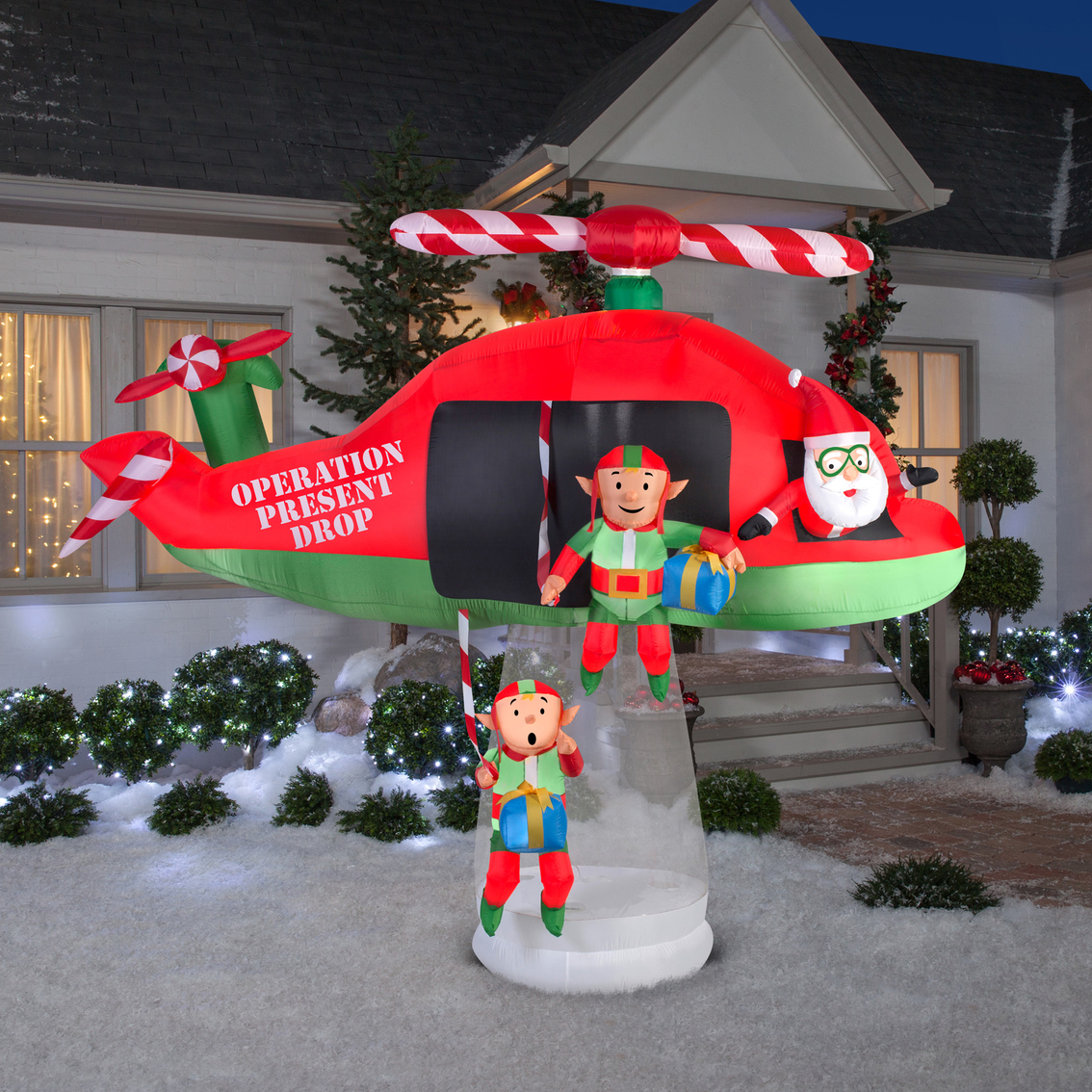 Gemmy Animated Airblown Santa And Elves In Helicopter Scene Inflatables Patio Garden Garage Shop The Exchange
