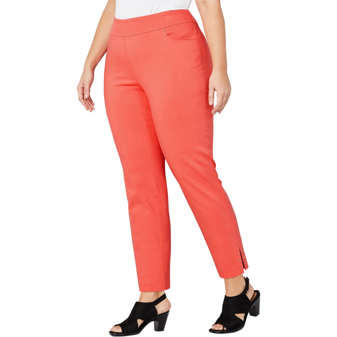 7605f819b Avenue Plus Size Super Stretch Split Hem Ankle Pants With Studs ...