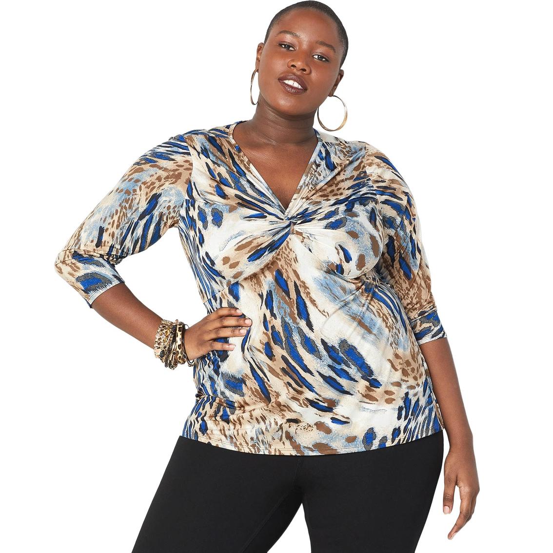 d22ba278d20d37 Avenue Plus Size Abstract Leopard Twist Front Top | Casual Shirts ...