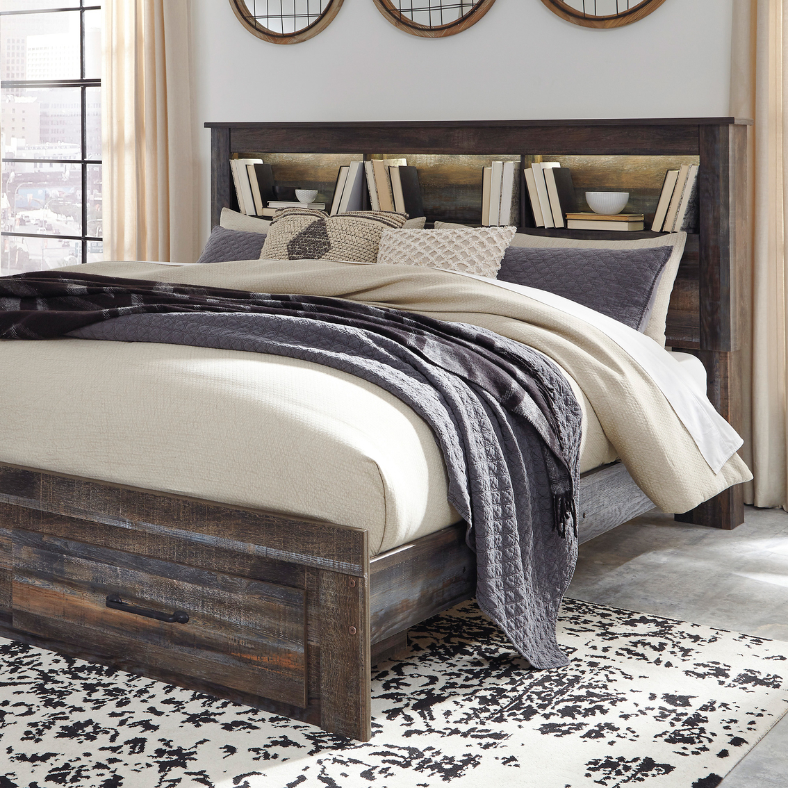 Signature Design By Ashley Drystan Bookcase Headboard Bed