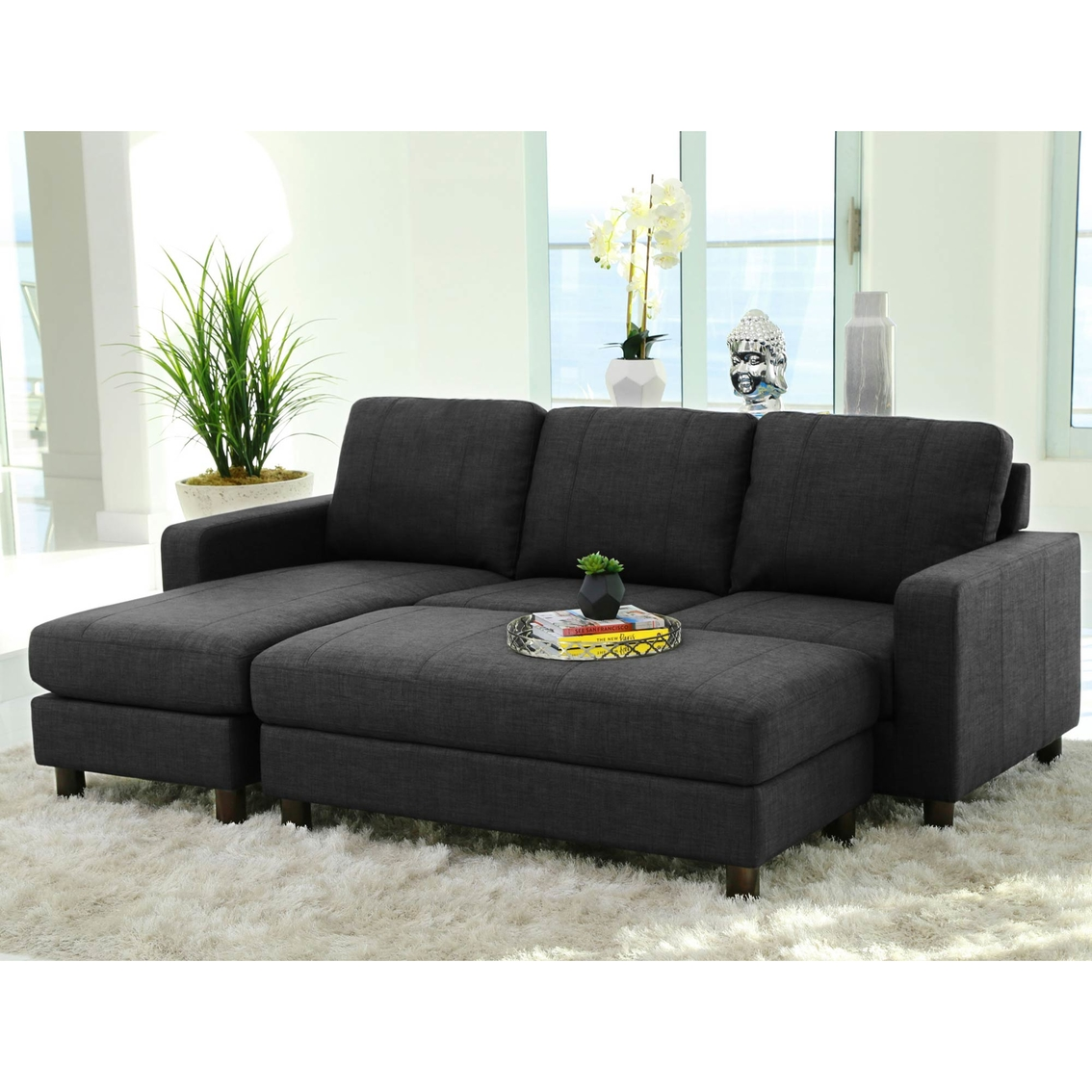 Astonishing Abbyson Living Berkeley Fabric Reversible Sectional And Caraccident5 Cool Chair Designs And Ideas Caraccident5Info