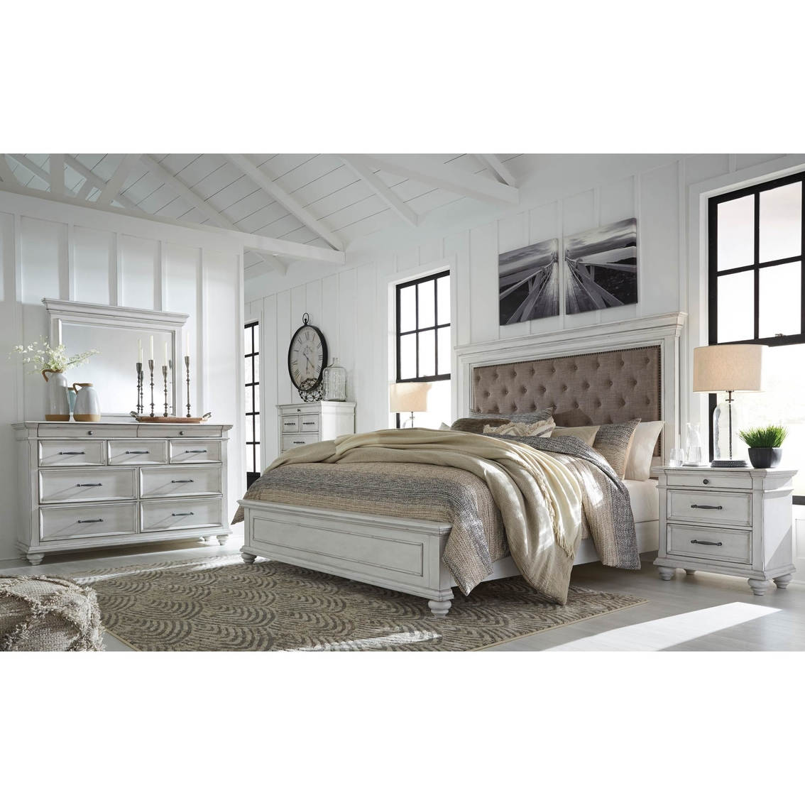 Kanwyn Uph Panel Bed 5pc Set Queen Bedroom Sets Furniture Appliances Shop The Exchange