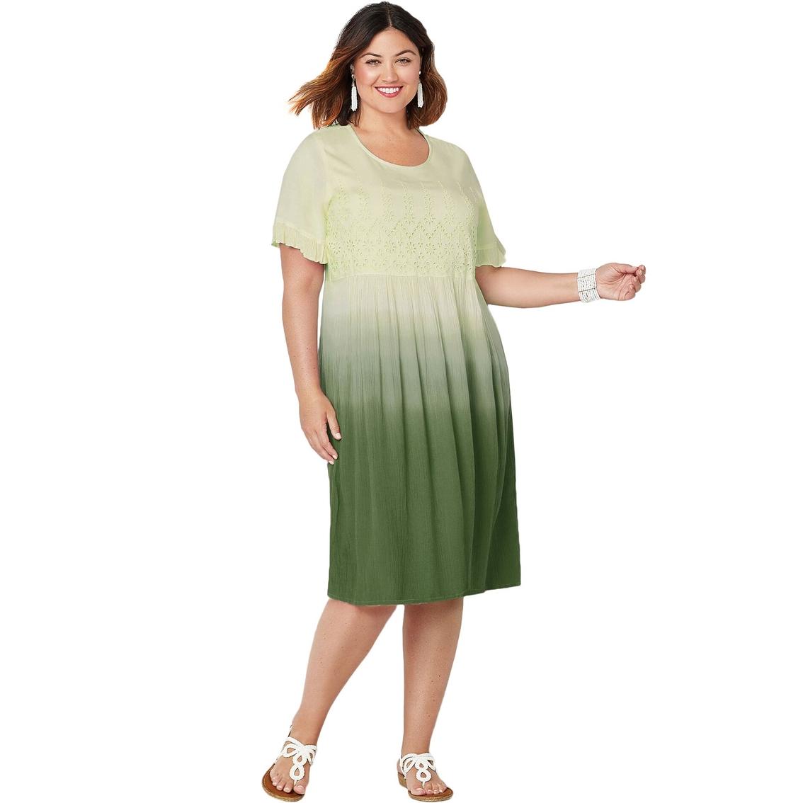 Avenue Plus Size Eyelet Trim Dip Dye Dress | Dresses ...